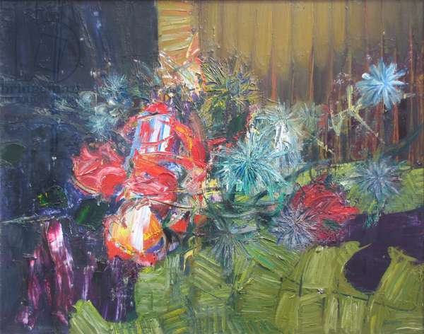 Roses and Thistles (oil on canvas)