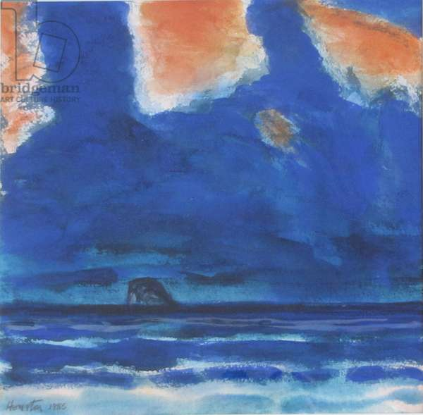 Bass Rock, Blue Day (w/c on paper)