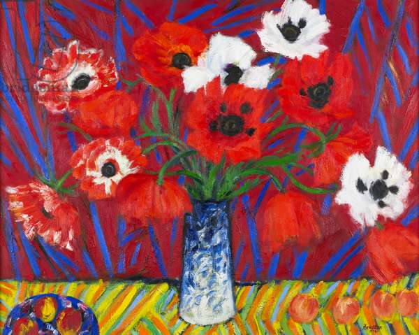 Oriental Poppies and Fruit, 1994 (oil on canvas)