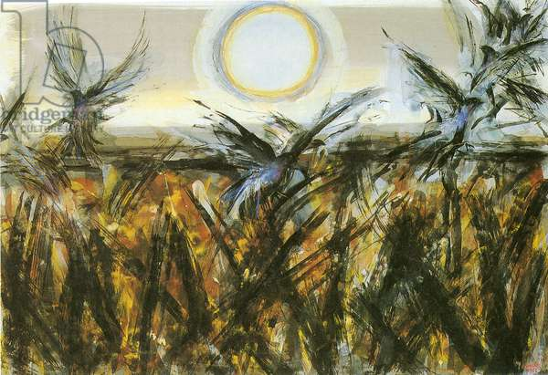Birds over the Field, 1962 (w/c on paper)