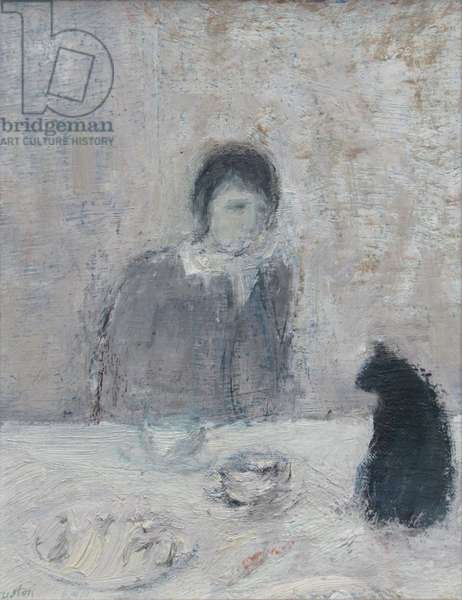 Cat at the Table (oil on board)