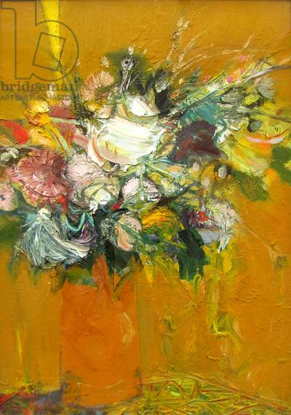 Flower in Orange Jug (oil on canvas)