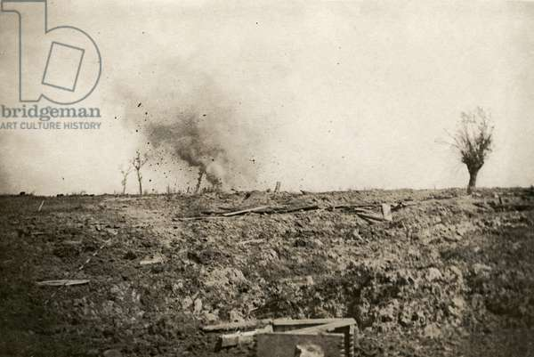 German shells 'searching' the newly captured ground near Langemarck, 1917 (b/w photo)