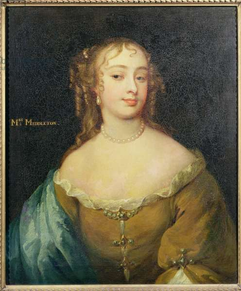 Portrait of Jane Middleton (1645-92) court beauty in the reign of Charles II (oil on panel)