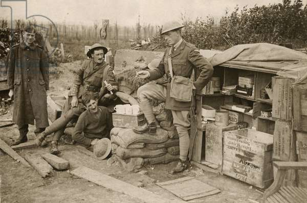British soldiers at a YMCA hut on the Western Front, 1914-18 (b/w photo)