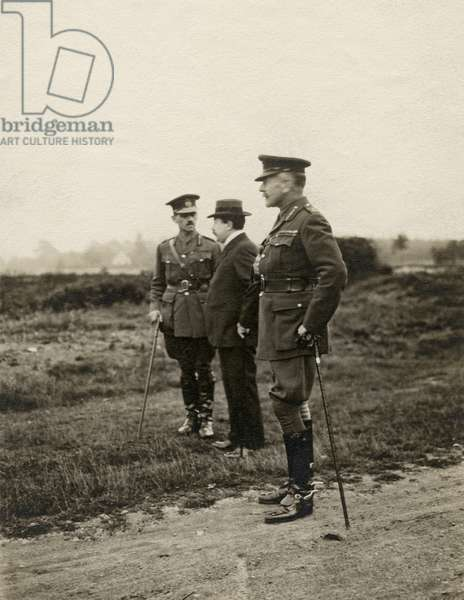 Two WWI officers and a civilian, 1914-18 (b/w photo)