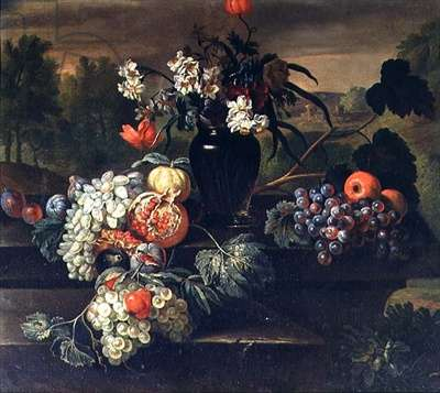 Still Life of Flowers and Fruit (oil on canvas)