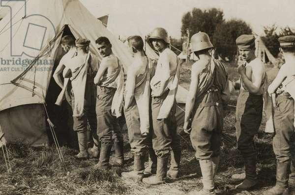 German prisoners being vaccinated, Battle of the Menin Road, Ypres, Flanders, September 1917 (b/w photo)