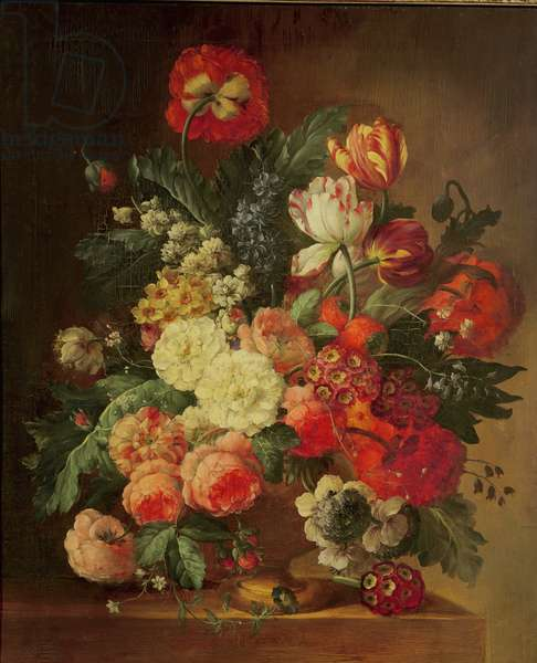 Still Life of Flowers in a Vase (oil on canvas)