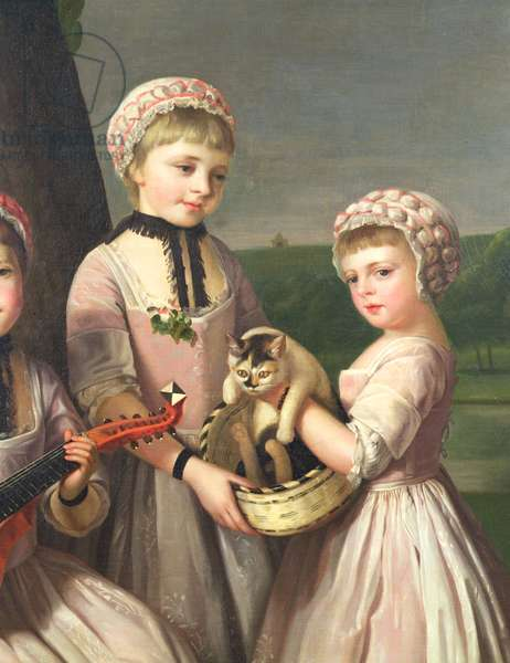 The Ladies Waldegrave, detail of two girls with a cat, 1768 (oil on canvas) (detail of 87891)