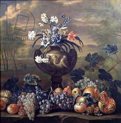Still Life of Fruit and Flowers in an Urn (oil on canvas)