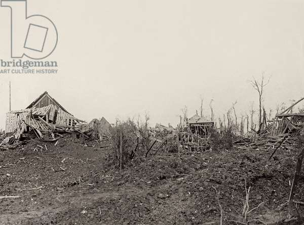 A scene from the Western Front at Flers, France, 1914-18 (b/w photo)