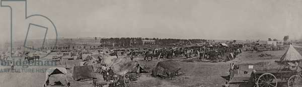 A camp scene in France during WWI, 1914-18 (b/w photo)