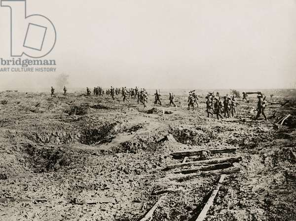Waves of infantry going up to the attack of the 25th, Western Front, 1914-18 (b/w photo)