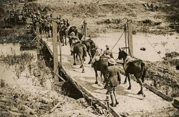 Artillery crossing the Yser, Flanders, 1914-18 (b/w photo)