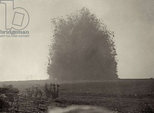 Explosion of the mine beneath Hawthorn Ridge Redoubt on the Somme, France, 1 July 1916 (b/w photo)