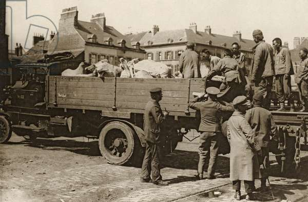 A Chinese labour party unloading meat, Western Front, 1914-18 (b/w photo)