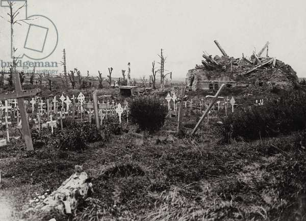 Ruins of Contalmaison Chateau with graves, 2 September 1917 (b/w photo)