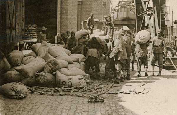 A Chinese labour party at work, Western Front, 1914-18 (b/w photo)