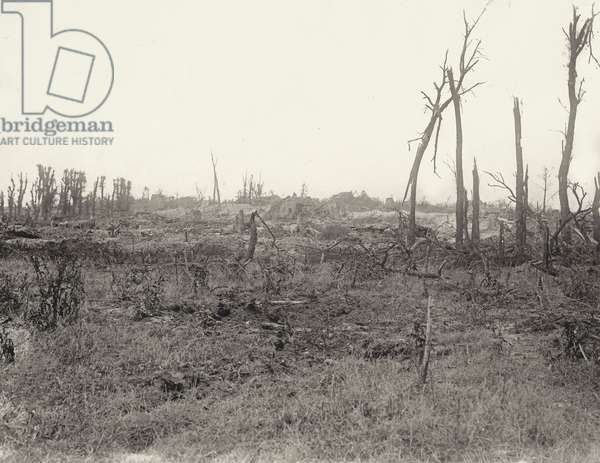 Artillery positions on the outskirts of a ruined village, Western Front, 1914-18 (b/w photo)