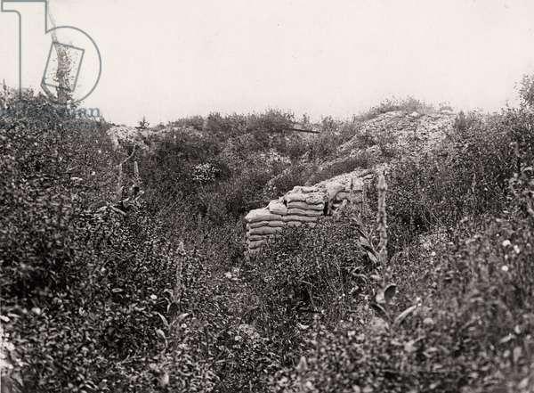 Old German front line trench captured on 1st July 1916, La Boiselle, 1917-18 (b/w photo)