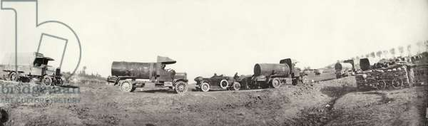 Convoy of water tanks on the Western Front, France, 1914-18 (b/w photo)