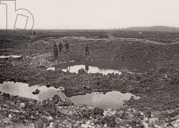 Water-logged crater during the Battle of Albert, near Mametz, summer 1916 (b/w photo)
