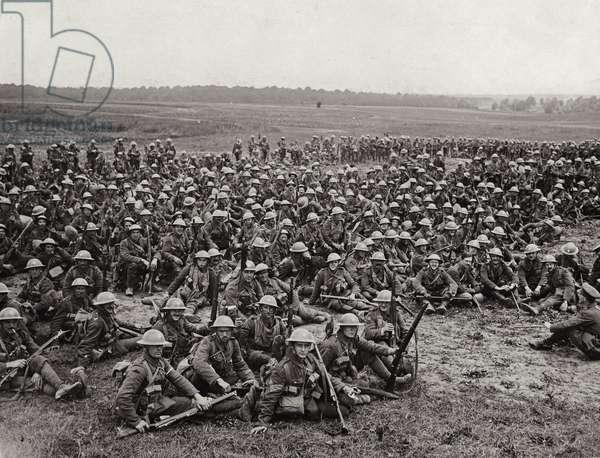 4th Battalion Worcestershire Regiment Men resting at Louvencourt, 28 June 1916 (b/w photo)