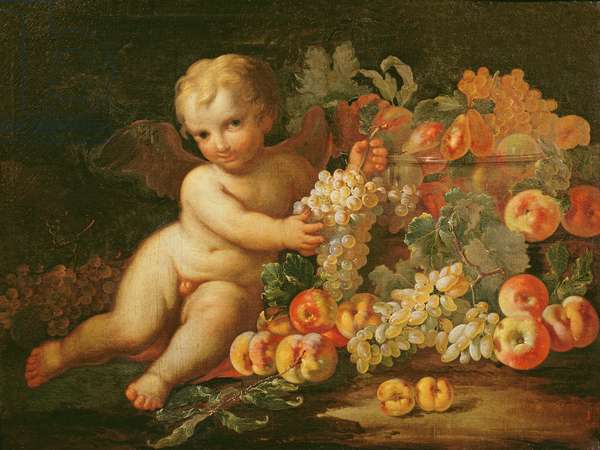 Putto with Grapes, Apples, Peaches and Other Fruit (oil on canvas) (pair of 87878)