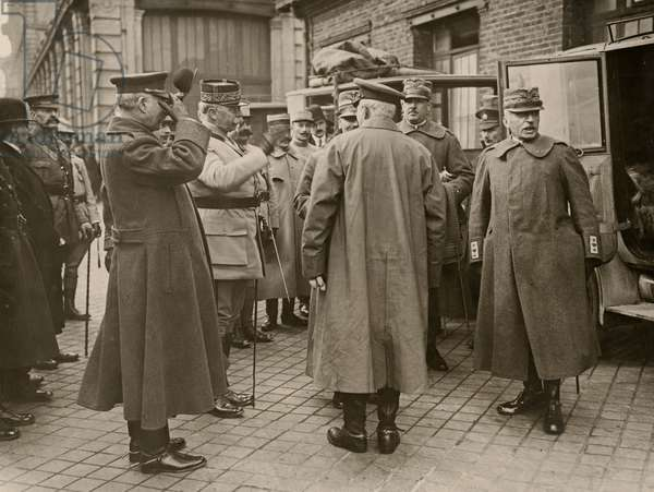 General Luigi Cadorna, the Italian Commander-in-Chief, leaving by car for British GHQ at St. Omer, is greeted by General Joseph Joffre, the French Commander-in-Chief, Calais, March 1916 (b/w photo)