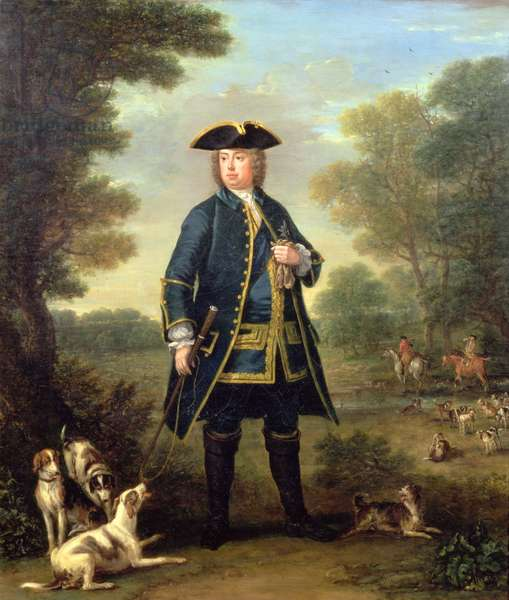 Portrait of Sir Robert Walpole (1676-1745) as Master of the King's Staghounds in Windsor Forest