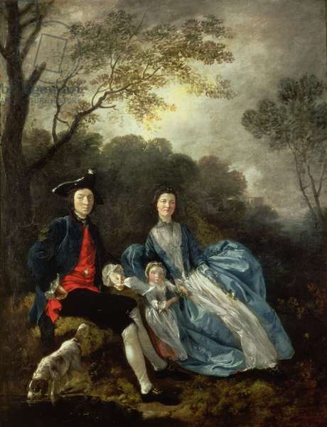 The Artist with his Wife and Daughter, c.1751-2 (oil on canvas)