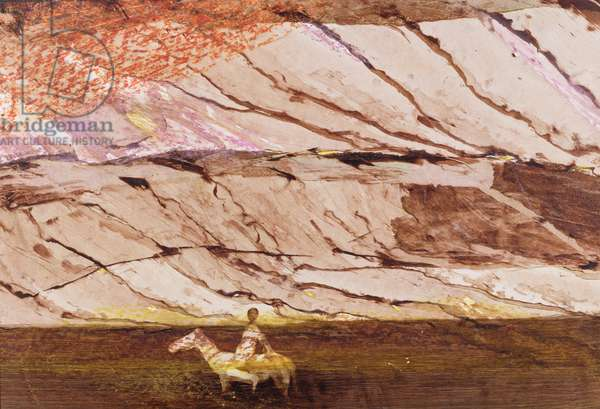 Horse and Rider in a Creek (mixed media on board)