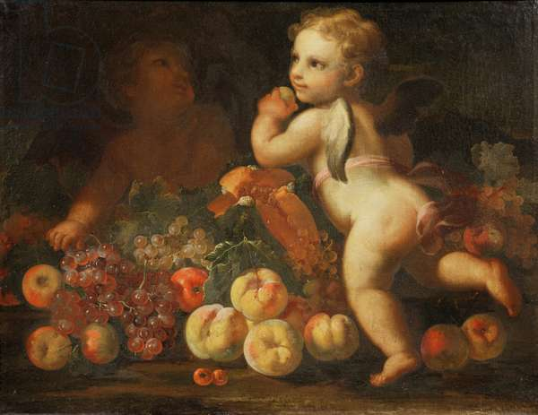Putti with Grapes, Melon, Apples, Peaches and Other Fruit (oil on canvas) (pair of 87877)