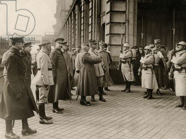General Luigi Cadorna, the Italian Commander-in-Chief, arriving at Calais, greeted by General Joseph Joffre, the French Commander-in-Chief, March 1916 (b/w photo)