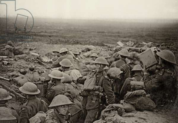 North county troops waiting to advance at the Battle of the Menin Road, Flanders, September 1917 (b/w photo)