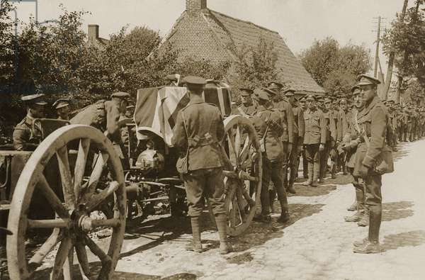 Funeral procession for a British soldier on the Western Front, 1914-18 (b/w photo)