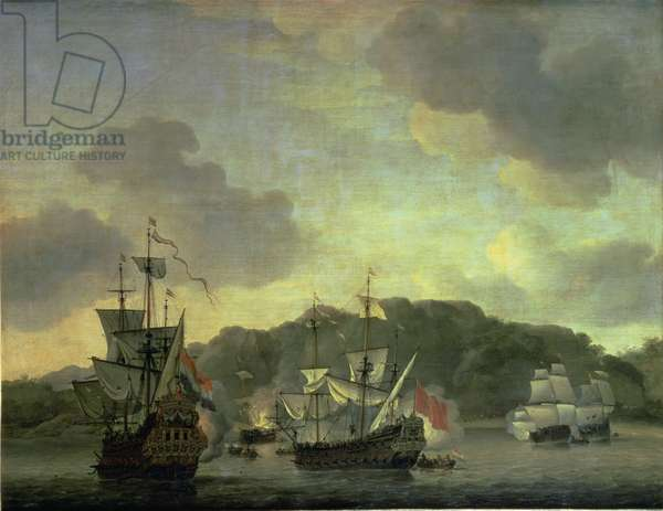 A Naval Engagement, 1659 (oil on canvas)