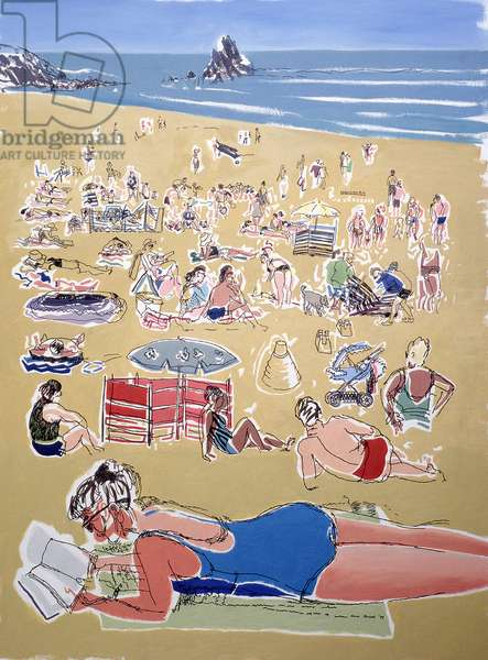 Bathers, Broadhaven Beach, Dyfed, 1995 (oil on ink on board)
