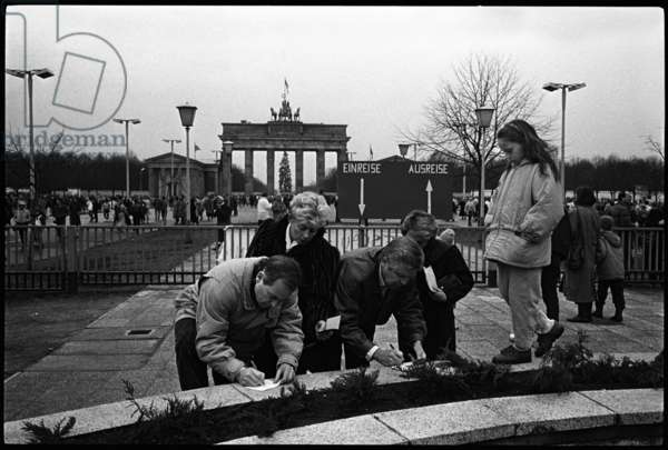 From 24th December West Berliners could go to and from the DDR without needing a visa, 1989 (b/w photo)