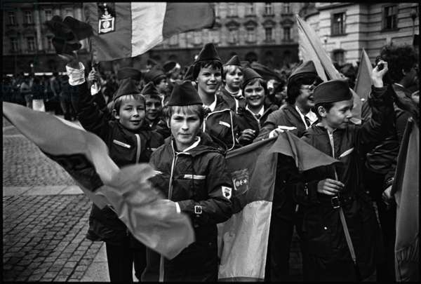 Members of the Ernst Thalmann Pioneer Organisation at a march to celebrate the 35th anniversary of the foundation of East Germany, 1984 (b/w photo)