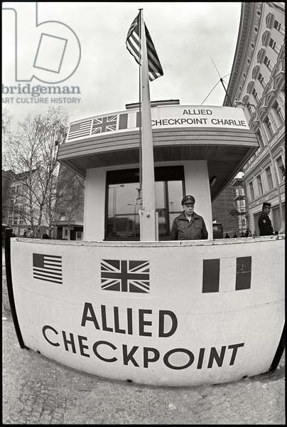 Allied Checkpoint Charlie, 1988 (b/w photo)