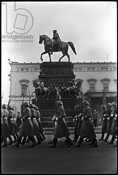 Parade of the Friedrich Engels Watch Regiment, 1985 (b/w photo)