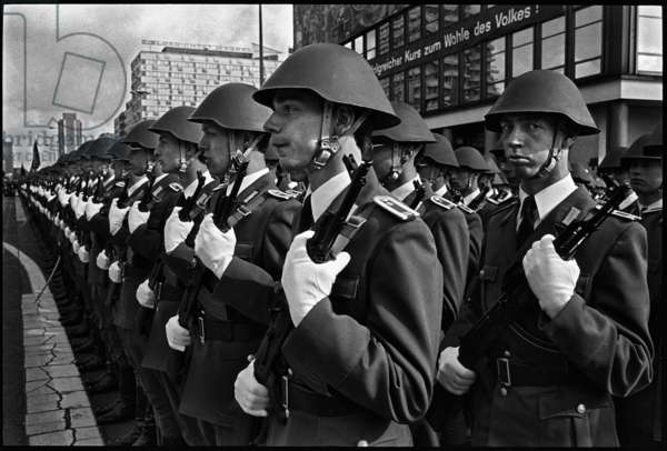 Military parade of the National People's Army to celebrate the 35th anniversary of the foundation of East Germany, 1984 (b/w photo)