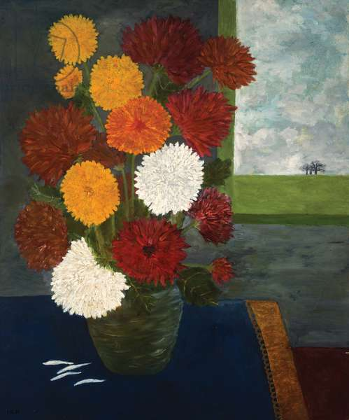 Chrysanthemums with Oilcloth, 1991 (oil on board)