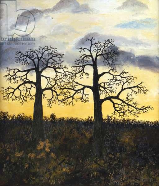 Two Oaks, Polstead, 1994 (oil on board)