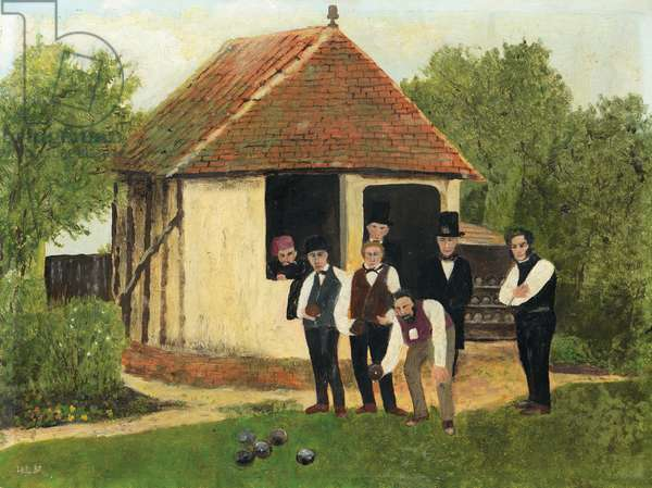 Victorian Bowlers, 1968 (oil on board)