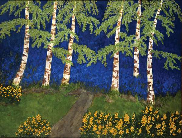 Entrance to the Bluebell Wood, Layham, 1989 (oil on board)