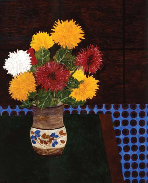 Chrysanthemums on a Blue Cloth, 1990 (oil on board)