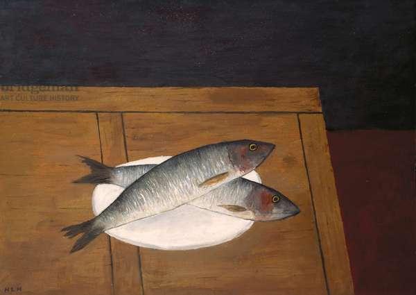 Two Herrings, 1989 (oil on board)